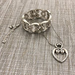 Brighton silver retired heart necklace and bangle.